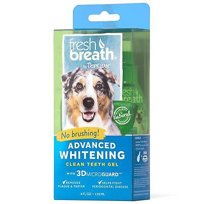 Tropiclean Fresh Breath advanced whitening clean teeth gel 4 OZ no brushing dog