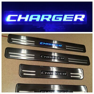 Blue Led Light Stainless Door Sill Guard Plate For Dodge Charger  2008-2015 4pcs