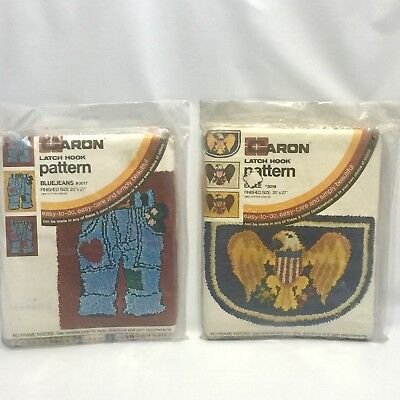 Caron Latch Hook Pattern Lot of two #3019 Eagle & #3017 Blue Jeans Sealed NOS