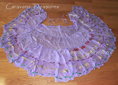 Lavender Sari Wrap or Bustle Skirt Gypsy Tribal Fusion Belly Dance ATS FAE