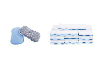 "LTWHOME Dual Sided Microfiber 2 in 1 Tuff Scrub Washing Up Pad 6.49"" x 3.93"" x 0"