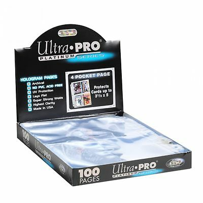 25 Ultra PRO Platinum 4-Pocket Trading/Gaming Card Album Pages/Binder Sheets