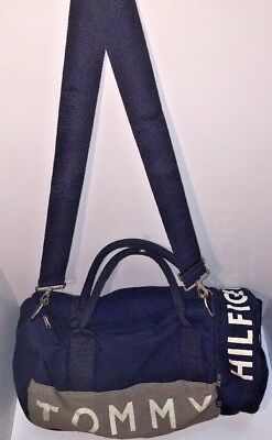 TOMMY HILFIGER Vintage Large Gym Bag Crossbody Book bag Carry On Navy Logo Retro