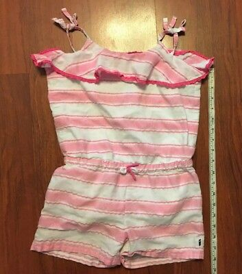 6c1d94eb9468 TOMMY HILFIGER GIRLS Romper Pale Red White With Eyelet Trim 24 ...