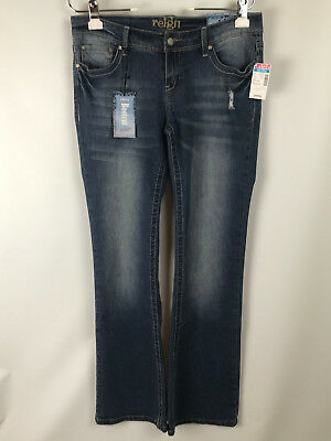 41865bfb16db2 DEB REIGN Juniors sz 9 Curvy Boot Cut Dark Wash Distressed Denim Blue Jeans  NEW