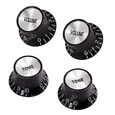 4Pcs Top Hat Bell Speed Control Knobs for Electric Guitar Bass (2 Volume&2 Tone)