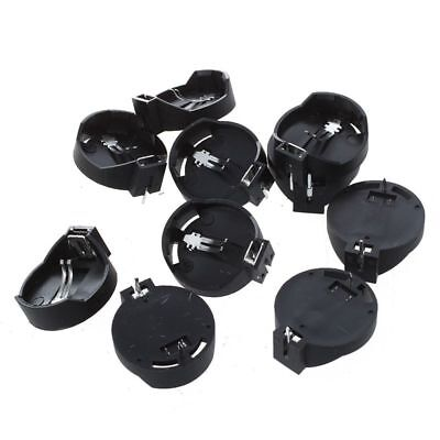 10pcs Black Round Button Battery Holder Case for CR2032 2016 2025 Q9V6