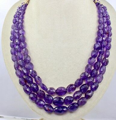 3 Line 712 Cts Natural Amethyst Faceted Oval Cabochon Beads Necklace For Ladies