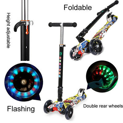 KIDS Outdoor LED Light Up Flashing 4 Wheels Foldable COOL Kick Scooter Gift