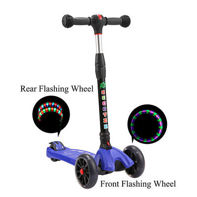 Age 6-12 Outdoor Foldable Flashing LED Light Up 4 Wheels KIDS Kick Scooter