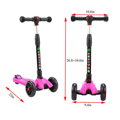 Outdoor Adjustable Height Foldable 4 Wheels LED Light Up Kids Kick Scooter Gift