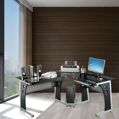 Large L-Shaped Dark Glass Top PC Desks Study Table Home Office Furniture Display