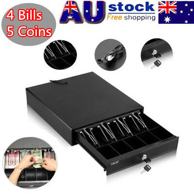 4 Bills 5 Coins Removable Tray Electronic Heavy Duty Cash Drawer Register NEW