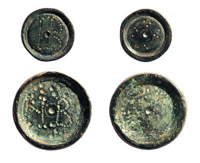 Lot of 3 Byzantine coin weights 0.5, 2 and 3 nomismata
