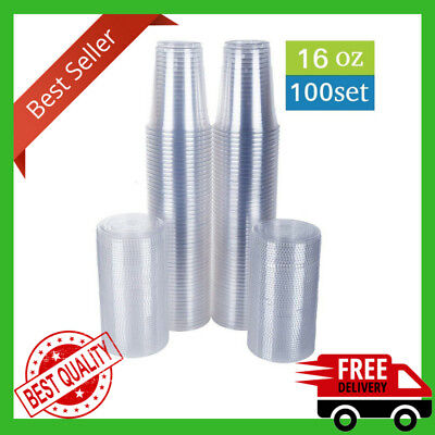Clear Plastic Cups With Flat Lids 100 Count 16 OZ Disposable Party Drinks Juice