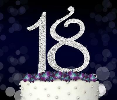 18 SILVER Plated Diamante Rhinestone Cake Pick Topper Birthday Age Years Old 7cm