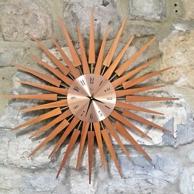 """Large Retro Starburst Wall Clock by Paico  Danish Style Teak and Metal 25"""" wide"""