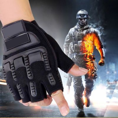 Outdoor Military Tactical Half Finger Fingerless Motorcycle Hard Knuckle Gloves