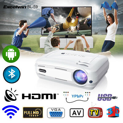 Excelvan 4K 1080P Android WIFI Projektor BT 3D Heimkino Beamer 8GB+2*3D Brille