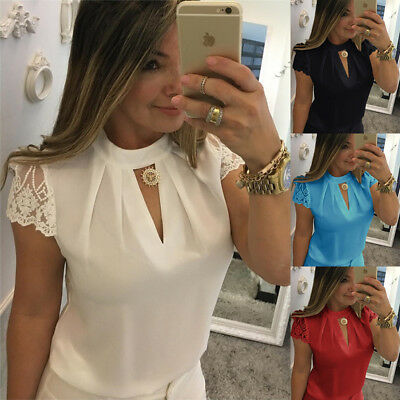 Womens Summer Lace Short Sleeve Trim Tops Ladies Casual Loose Blouse Shirt 6-22