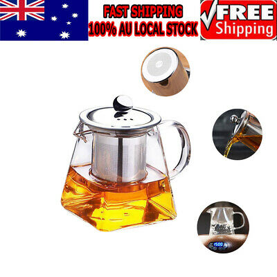 Glass Teapot Infuser Filter Herbal Tea Pot Leaf Filter Strainer Kettle 350Ml