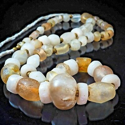 Mix Sources Original Ancient Roman African Tibet CRYSTAL QUARTZ Beads Strand
