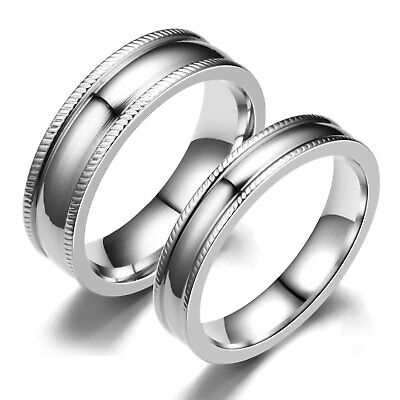 4/6/8mm Stainless Steel Bands Men/Women's Silver Polished Wedding Ring Size 6-12