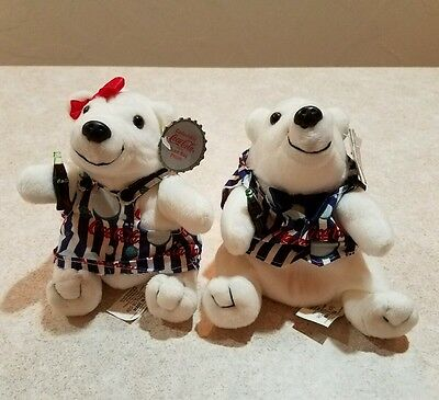 Matching set of Coca Cola Polar Bear Plush Toys New With Tags