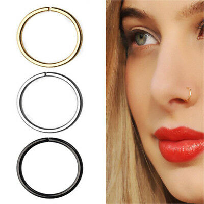 3X Surgical Steel Rainbow Nose Hoop Ring Cartilage Tragus Helix Lip Ear Piercing