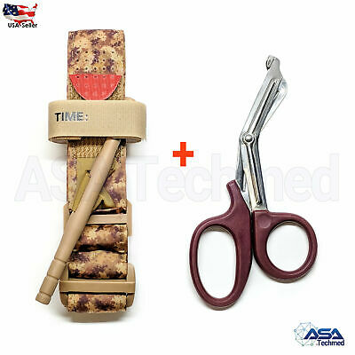 One Hand Tourniquet Combat Application First Aid Handed + Free Shear Sand