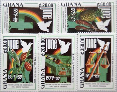 GHANA 1990 1382-86 1209-13 June 4 10th Ann Revolution Emblem Dove Taube MNH