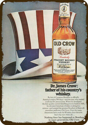 1969 OLD CROW WHISKEY Vintage Look REPLICA METAL SIGN - UNCLE SAM JULY 4th HAT