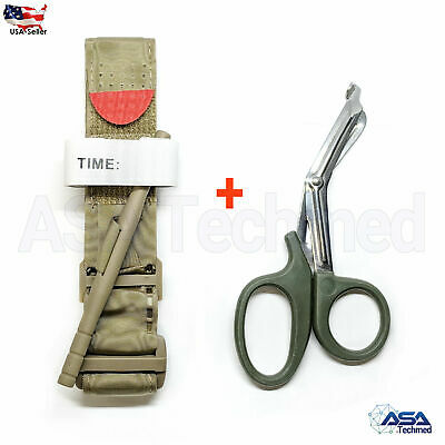 One Hand CAT Tourniquet Combat Application First Aid Handed + Free Shear Khaki