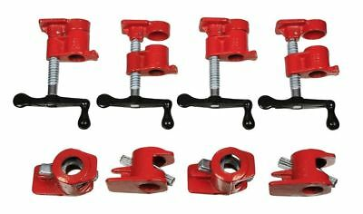 """3/4"""" Wood Gluing Pipe Clamp Set Heavy Duty PRO Woodworking Cast Iron 4PC"""