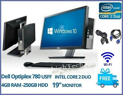 "Dell Optiplex 780 All in One USFF INTEL CORE 2 DUO 4GB RAM 250GB HDD DVD 19"" TFT"