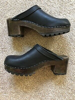 Black Leather Wooden Clogs Stamped 38, Fits  7.5/8US