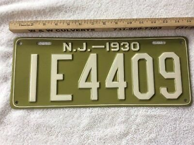 1930 New Jersey License Plate IE4409 Older RePaint
