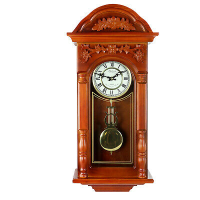 BEDFORD PADAUK OAK FINISH ANTIQUE CHIMING GRANDFATHER WALL CLOCK with PENDULUM
