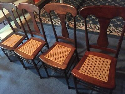 10 Beautiful vintage ladder wood chairs newly caned and large extendable table