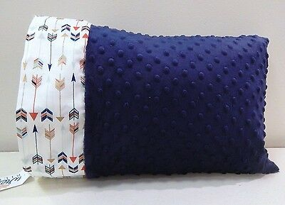NWT Blue Arrow Navy Blue Minky Dot Toddler Pillowcase 12 x 16 Boy Gold Metallic