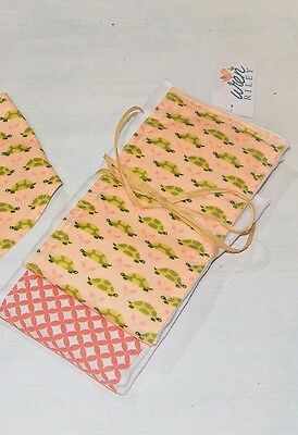 NWT Turtle Baby Girl Burp Cloth Set Coral Peach Green Gift 2 pc set Infant Pink