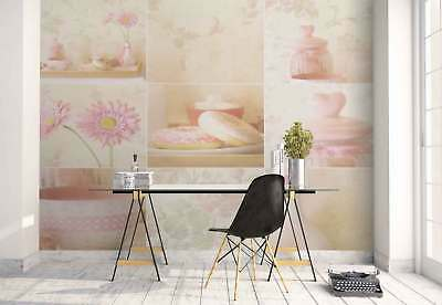 Collage Flowers Tapestry Breakfast Photo Wallpaper Wall Mural (1X-1271893)