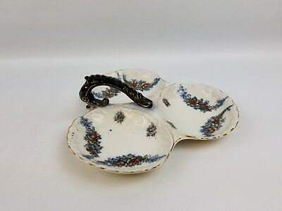 Antique Keeling & Co. Late Mayers Floral Three Section Tray Candy Dish w/ Handle
