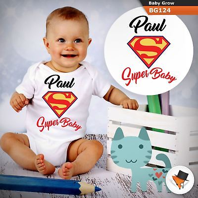 Personalised Super Baby Superman Marvel Babygrow Baby Grow  All Sizes  1 ^