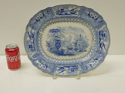 Huge ANTIQUE 1830s Blue Staffordshire Transferware G & H Canova Serving Platter