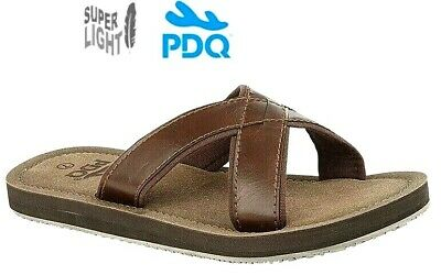 Mens Brown Leather Look Mules Beach Summer Shoes Sandals 6-12