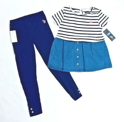 Girls US Polo Assn Outfit T-Shirt Top And Leggings Kids USPA Set Age 5-12 New