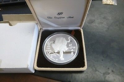 1986 Singapore 5oz .999 Silver Year Of The Tiger Proof Medal