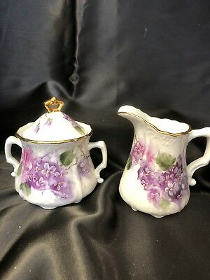 Antique Style Sugar Creamer Lavender Flowers Gold Trim Hand-Painted Porcelain