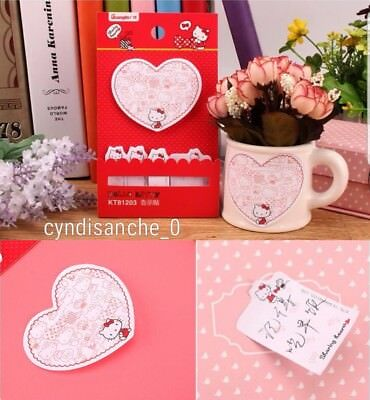 Hello Kitty Sticky Notes Heart Memo Sanrio Japan Bookmark Pads ♡ Notepad Cute